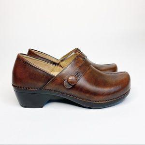 Dansko Solstice Button Brown Leather Clog Size 39